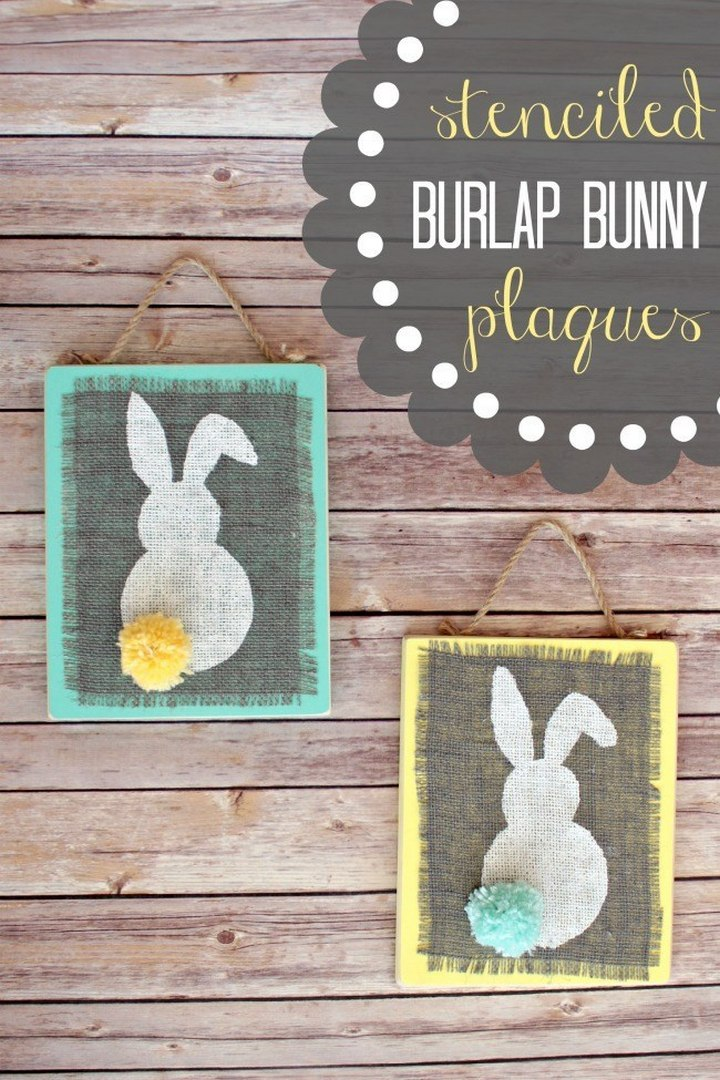 Stenciled Burlap Bunny Plaque Wall Art DIY
