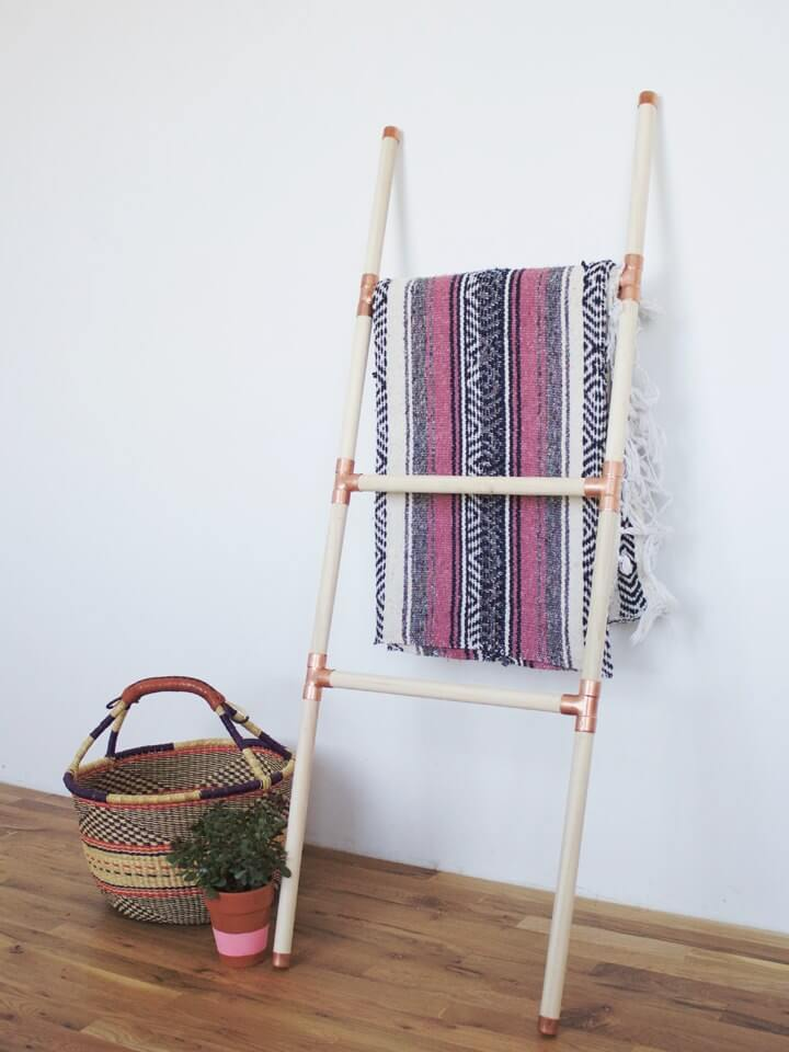 DIY Copper and Wood Blanket Ladder