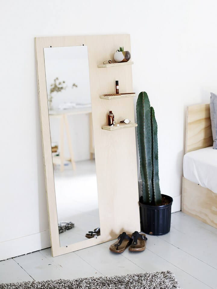 Plywood Floor Mirror DIY