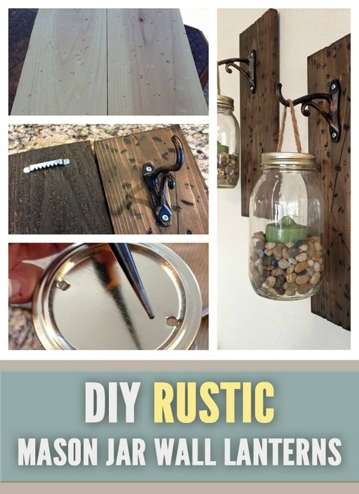 Rustic DIY Mason Jar Wall Lanterns