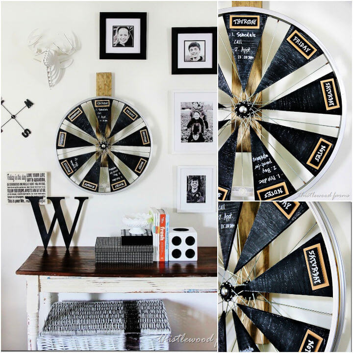 Bicycle Wheel Chalkboard Calendar