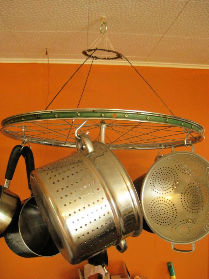 Bicycle Wheel Pot Rack