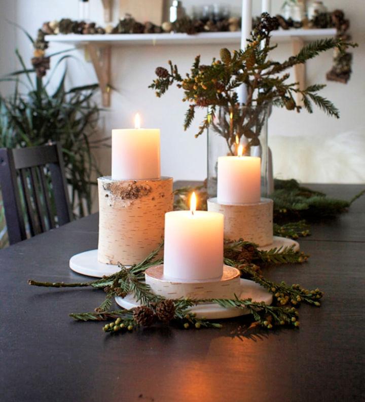 Birch Log Pilar Candle Holders