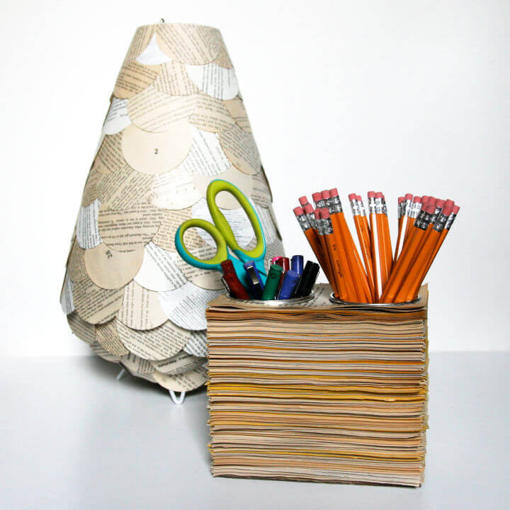 Book Pages Pencil Cups