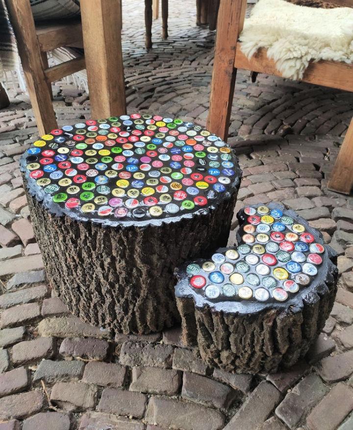 Bottle Cap Tree Trunk Table