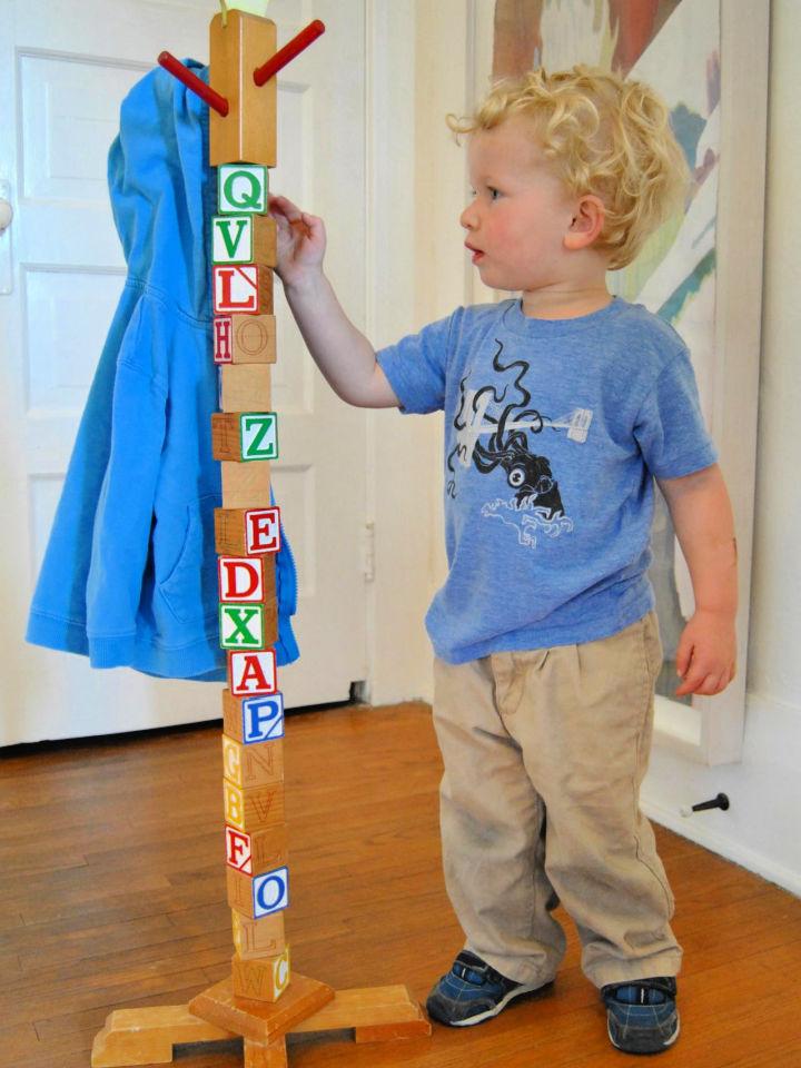 Building Block Hat Rack For Kids
