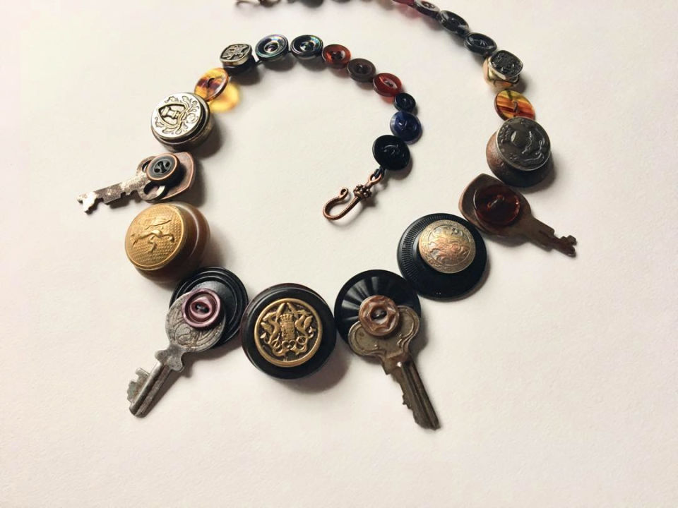 Button and Keys Necklace