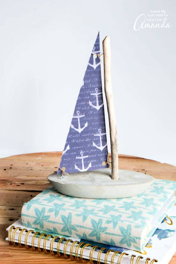 Concrete and Driftwood Sailboat