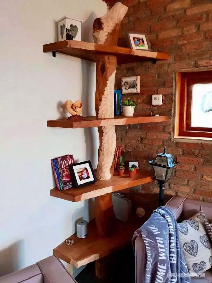 Corner Tree Trunk Bookshelf