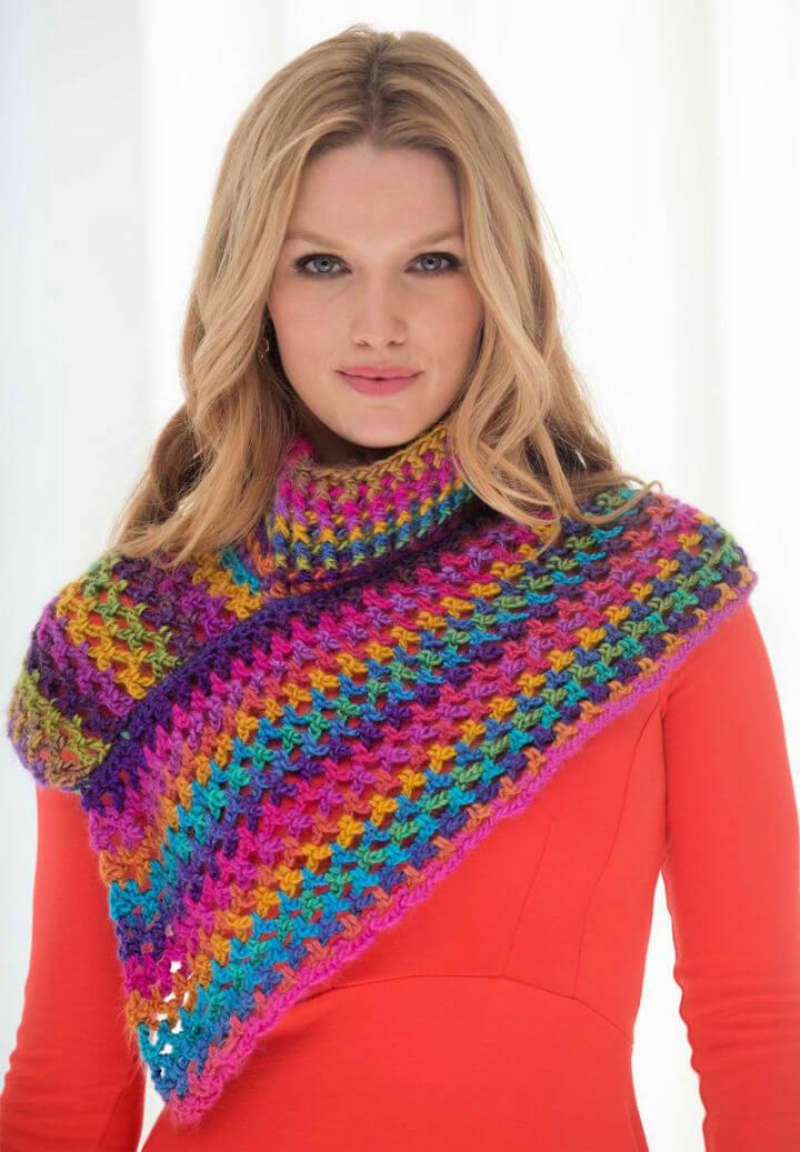 Crochet Asymmetrical Neckwarmer