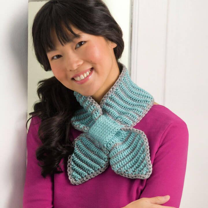 Crochet Bow Tie Neck Warmer