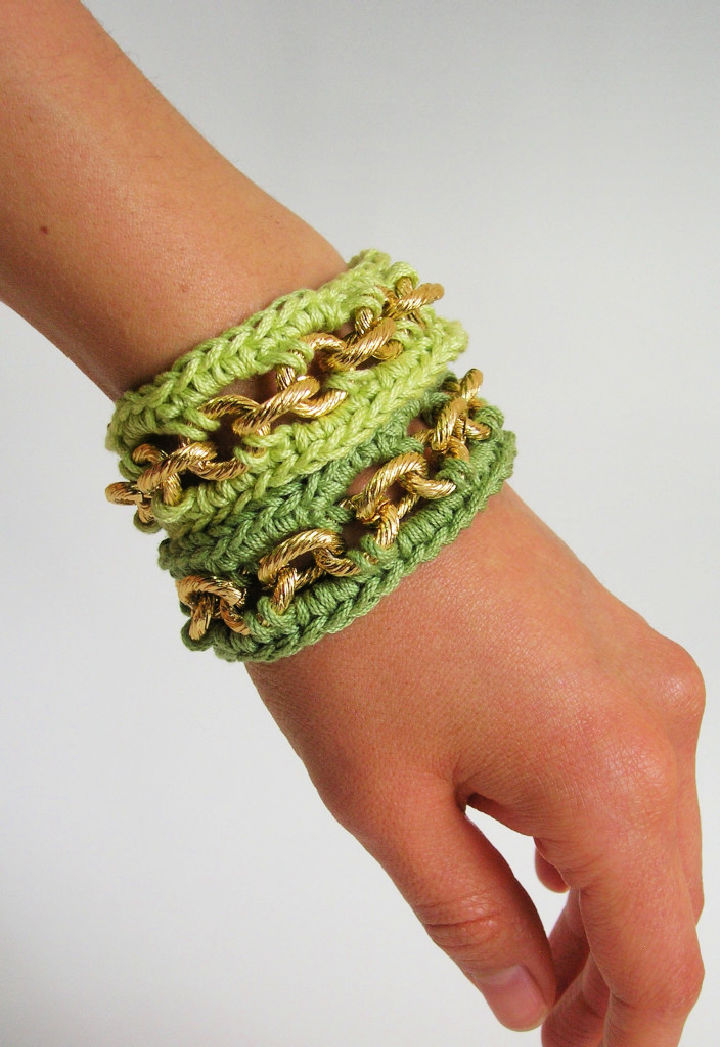 Crochet Bracelets with Chain