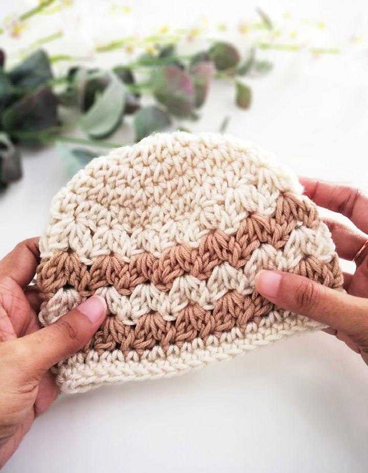 Crochet Cluster V Stitch Baby Hat