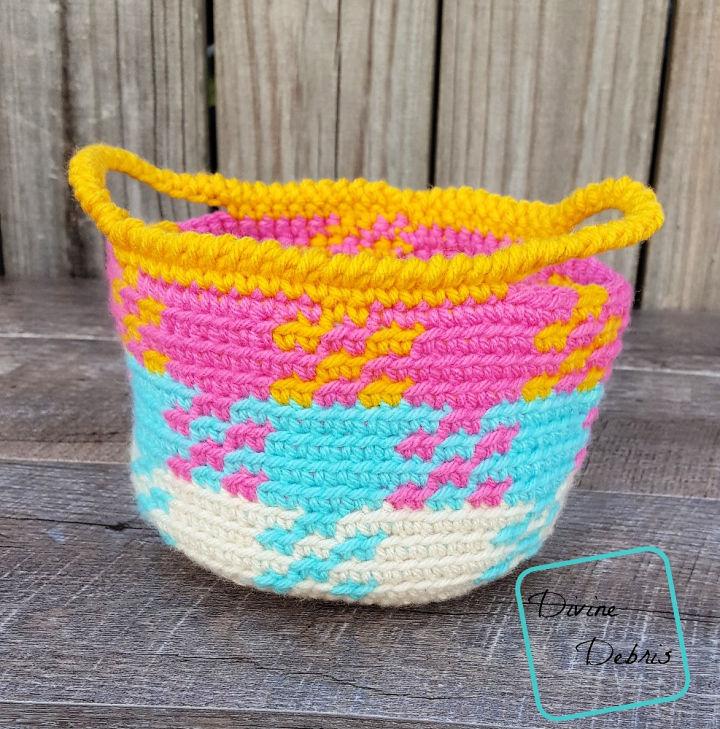 Crochet Gingham Basket