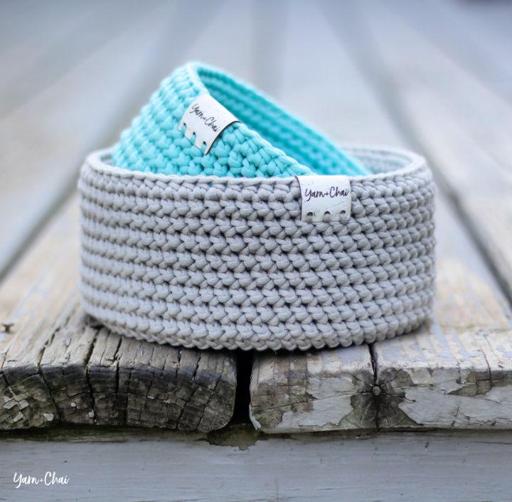 Crochet Herringbone Round Basket