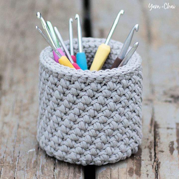 Crochet Hook and Needle Basket