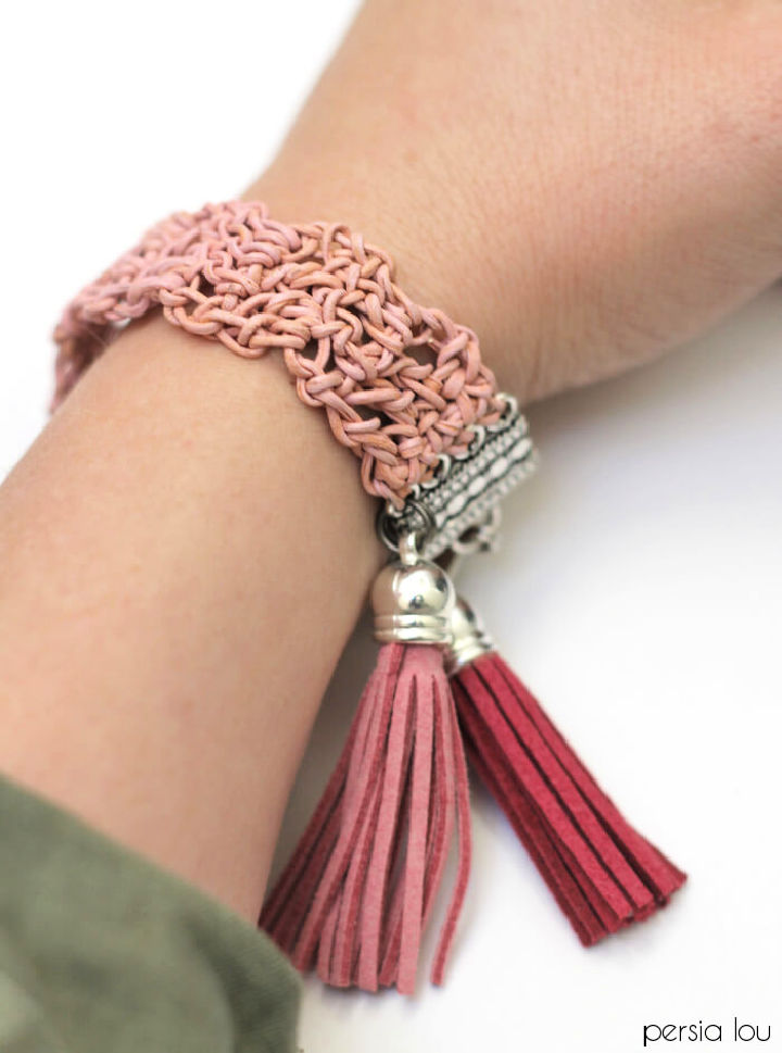 Crochet Leather Bracelet 1