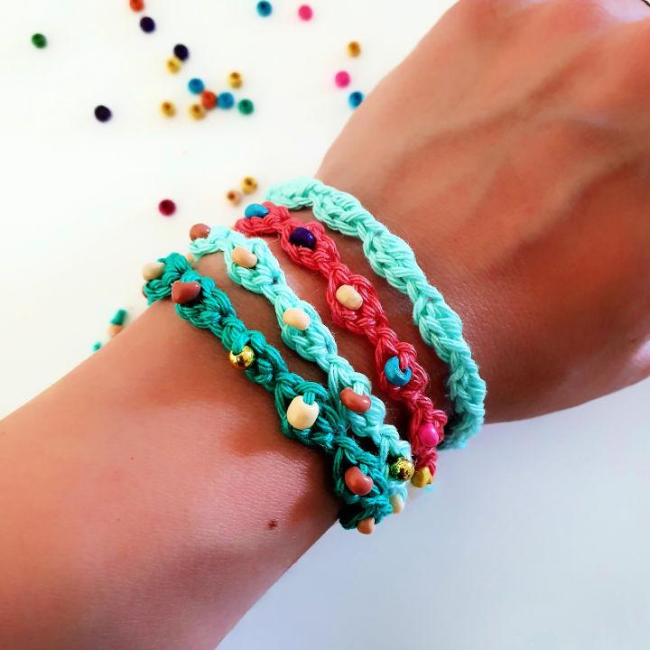 Crochet Left Over Yarn Bracelets