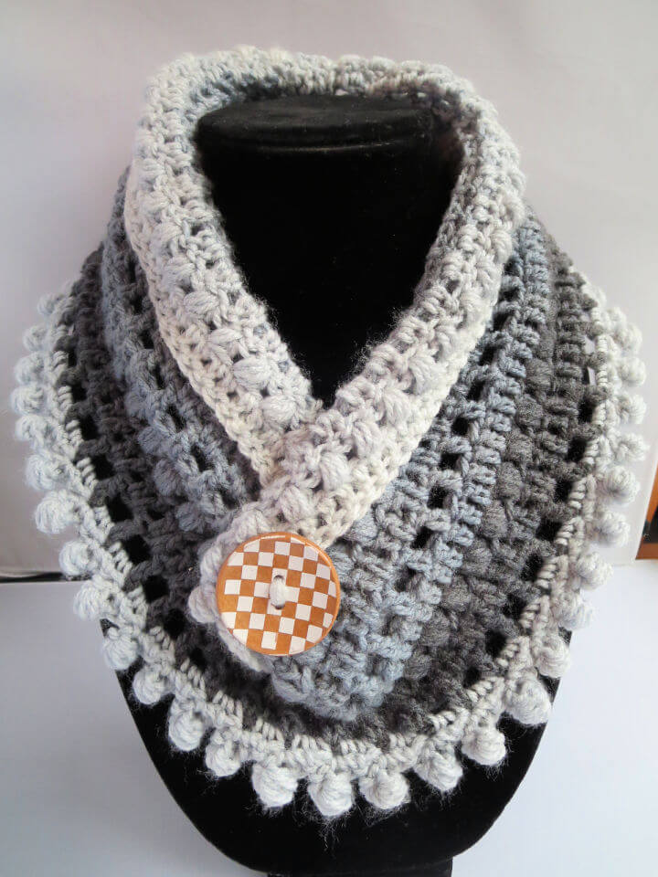 Crochet Mandala Pom Neck Warmer