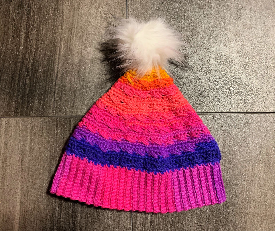 Crochet Rainbow Winter Hat