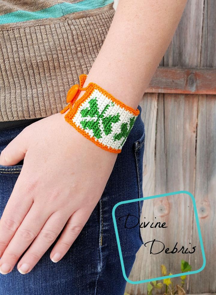 Crochet Shamrock Bracelet 1