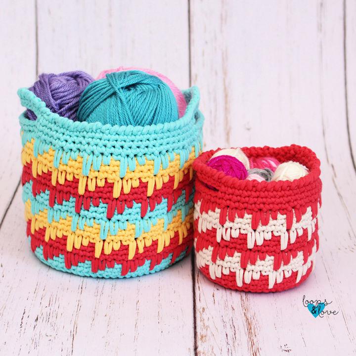 Crochet Spike Stitch Baskets