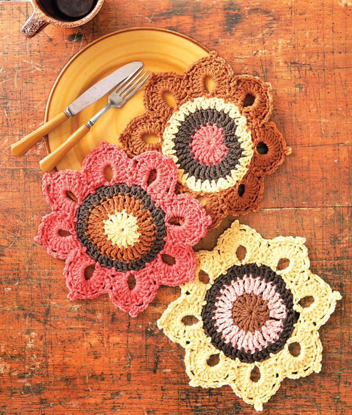 Crochet Woodsy Sunflower Dishcloth