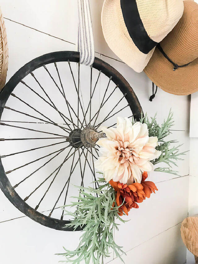 DIY Bicycle Wheel Wreath in Only Minutes