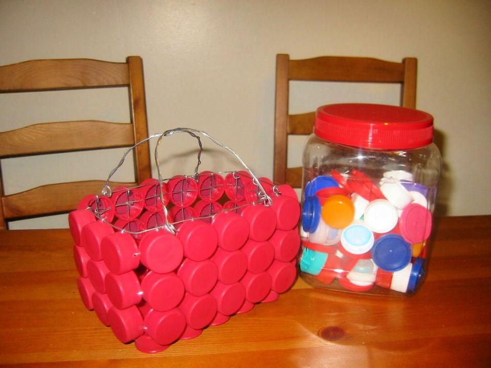 DIY Bottle Cap Basket