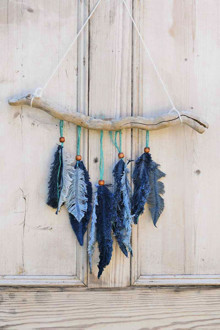 DIY Denim Feather Wall Hanging