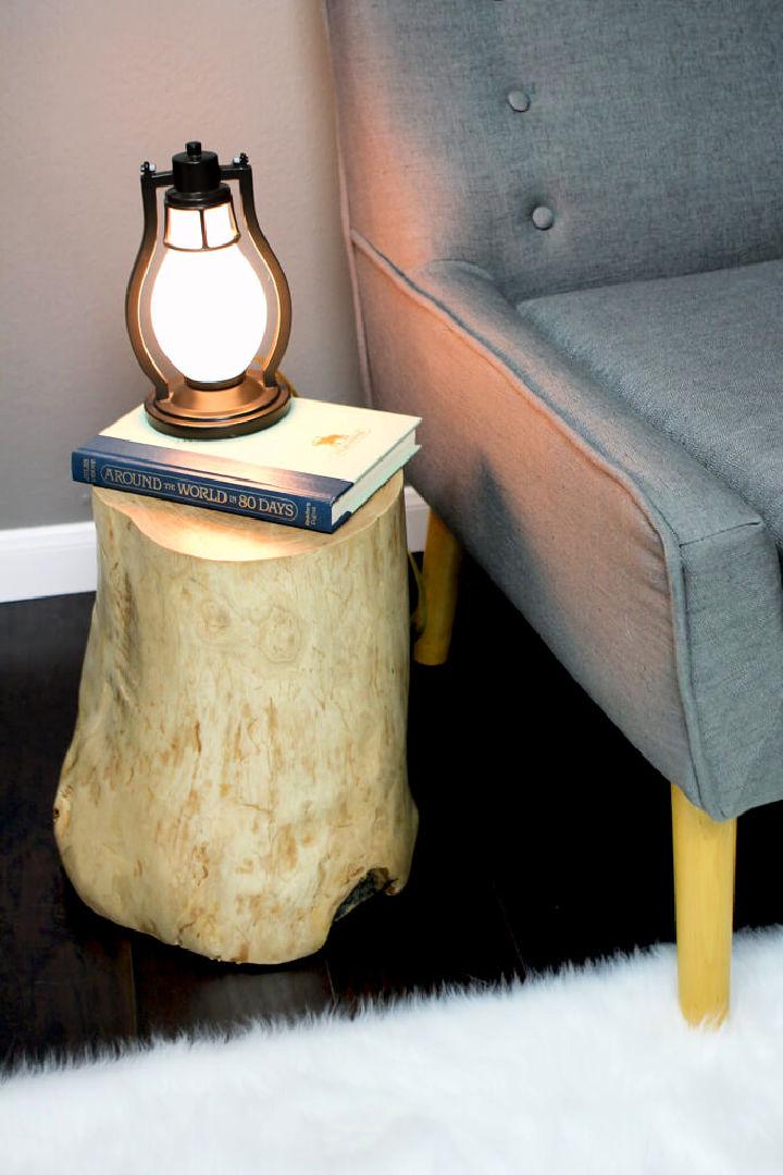 DIY Log Side Table