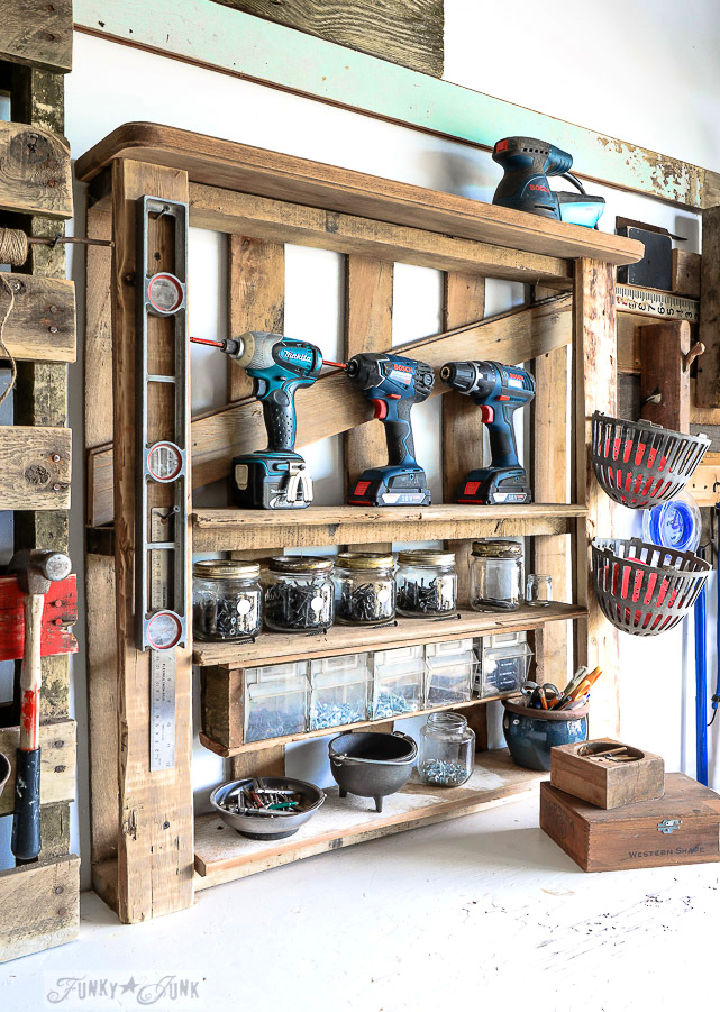 DIY Pallet Style Tool Shelf