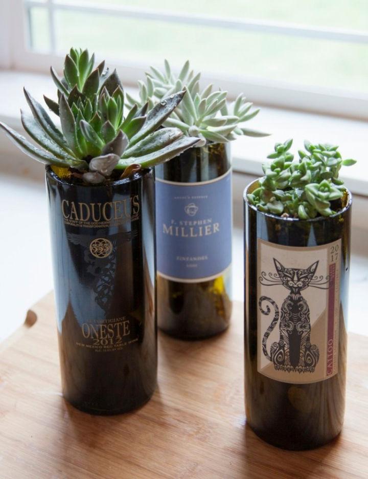 DIY Wine Bottle Planters
