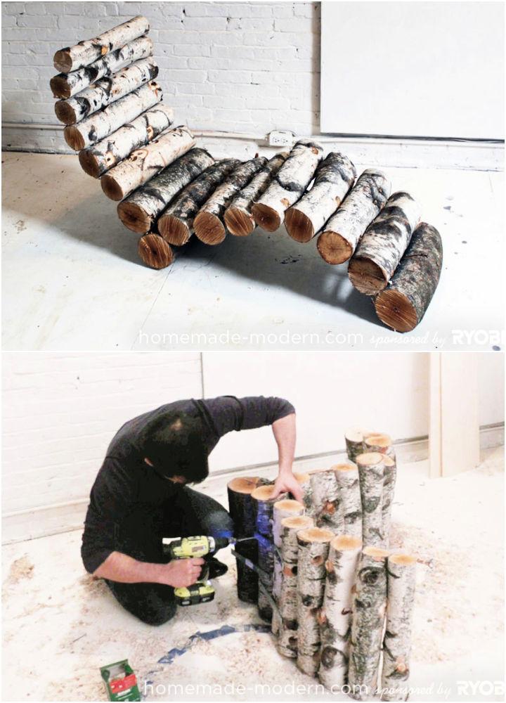 DIY Wood Log Lounger