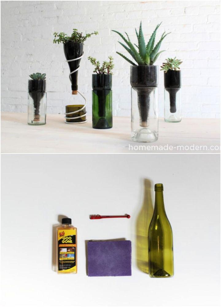 Desktop Planters Out of Wine Bottles