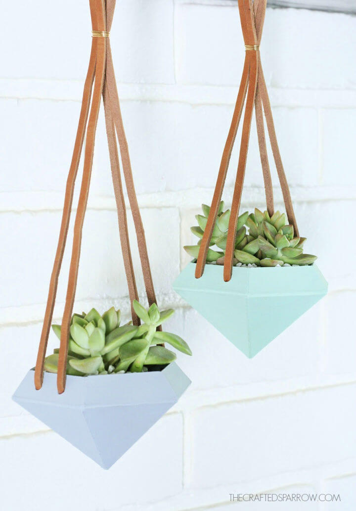 Diamond Hanging Planters with Leather Strap