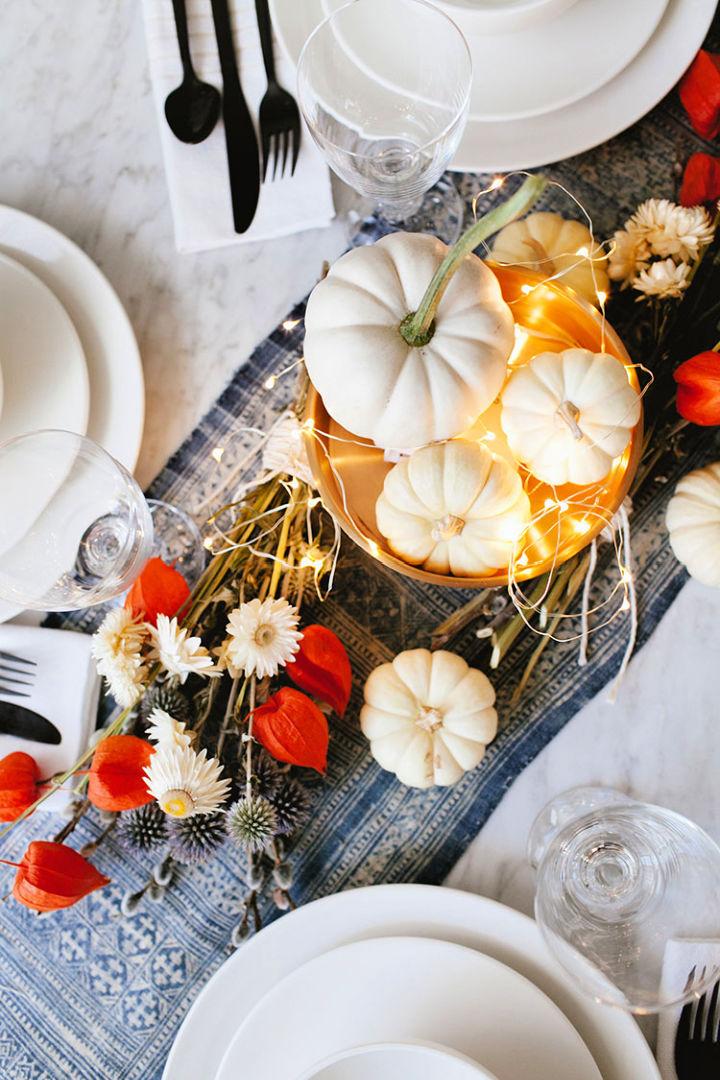 Dried Flowers and White Pumpkin Centerpiece