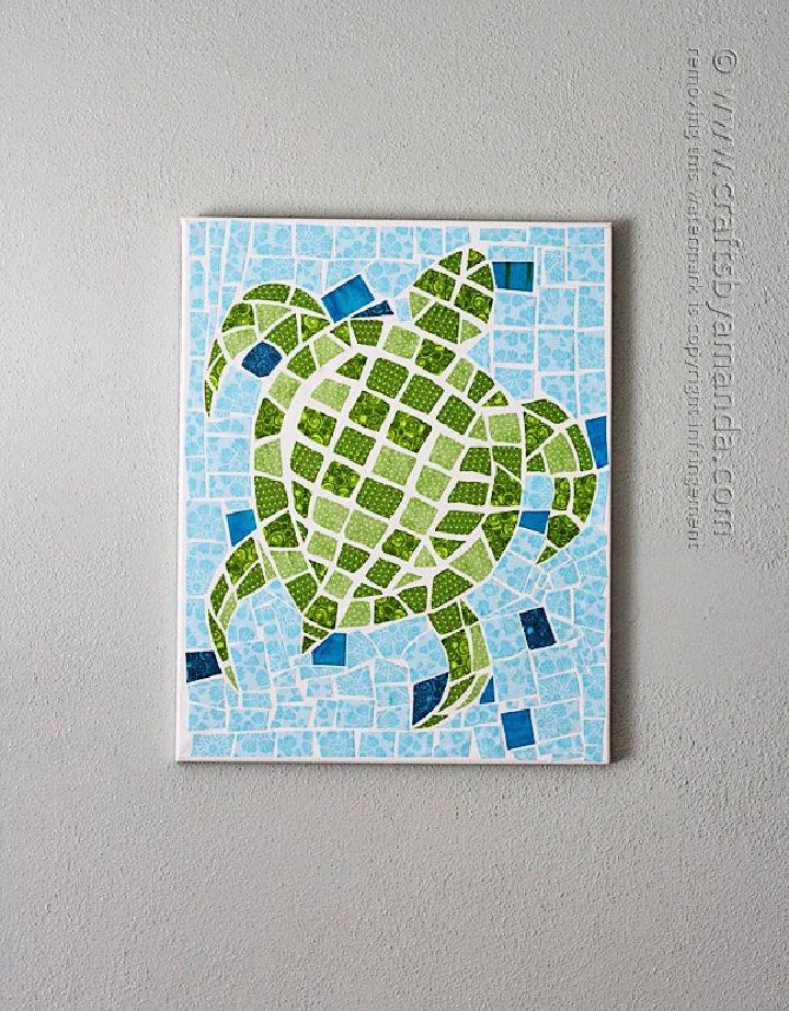 Fabric Mosaic Turtle on Canvas Art