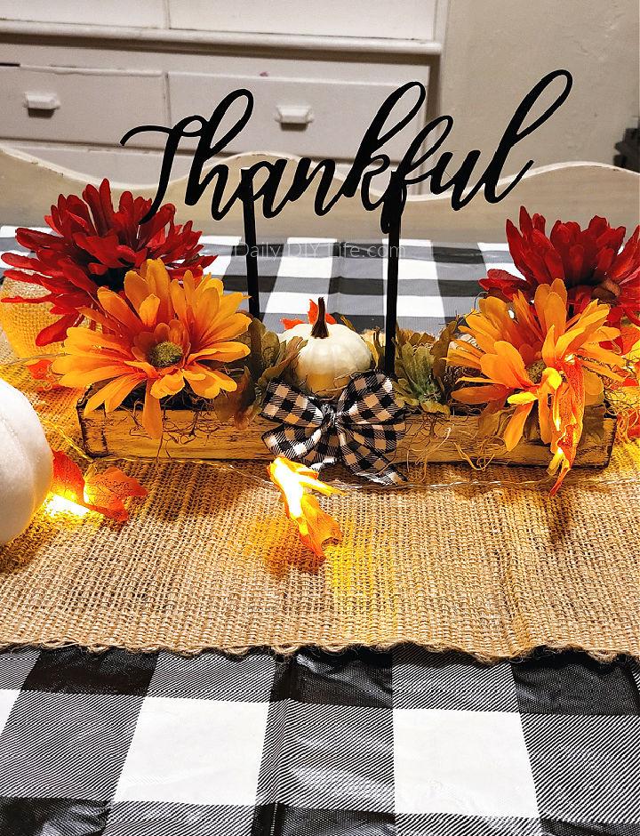 Faux Wood Thanksgiving Centerpiece