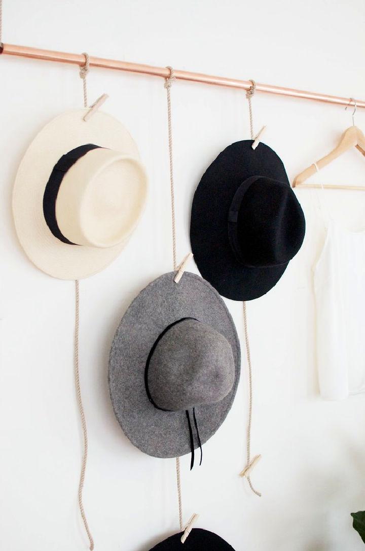 Hanging Copper Hat Rack