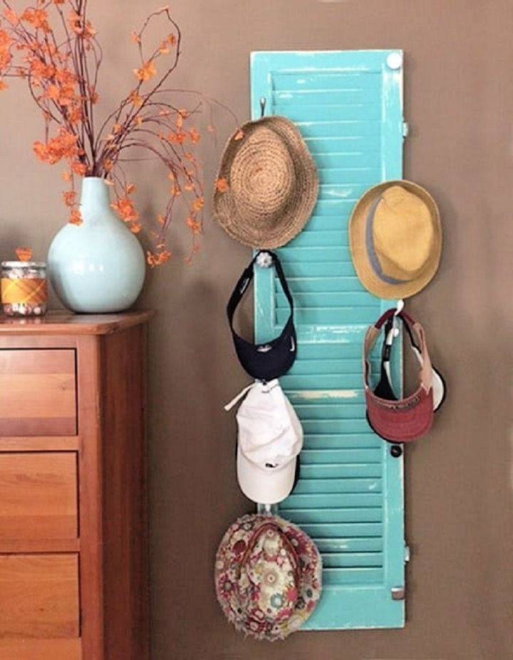 Hat Rack from an Old Shutter