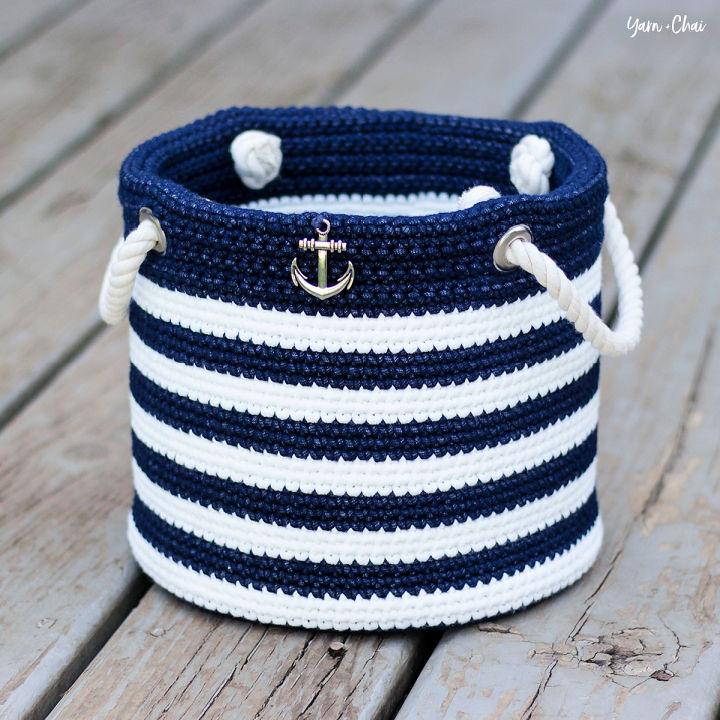 How to Crochet Nautical Basket