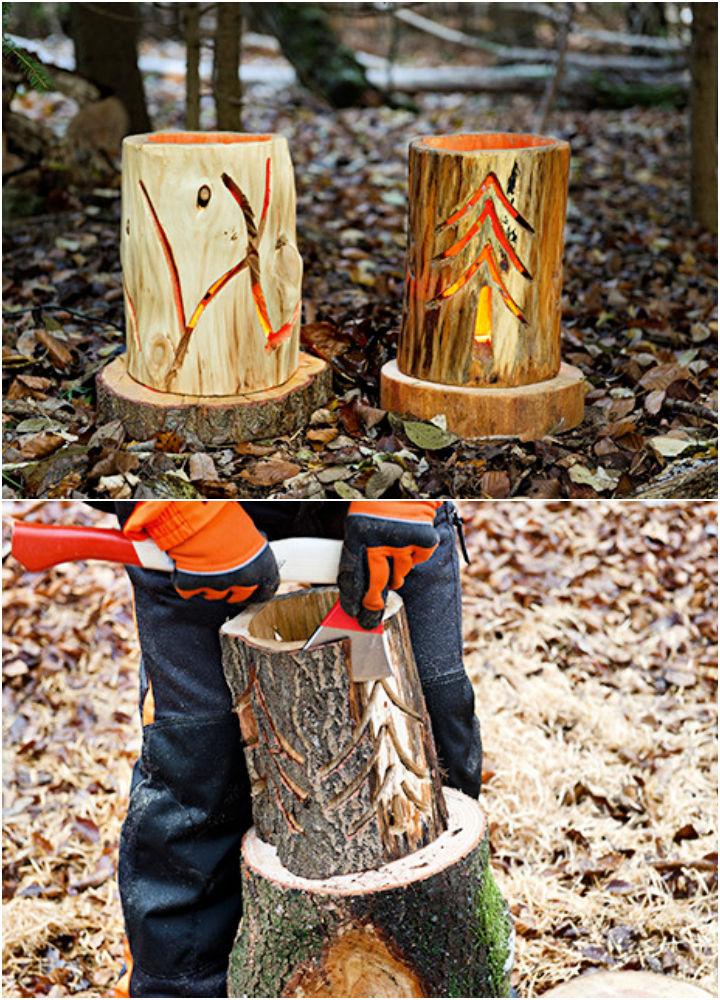 How to Make a Log Lantern