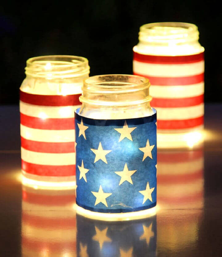 July 4th Mason Jar Lights