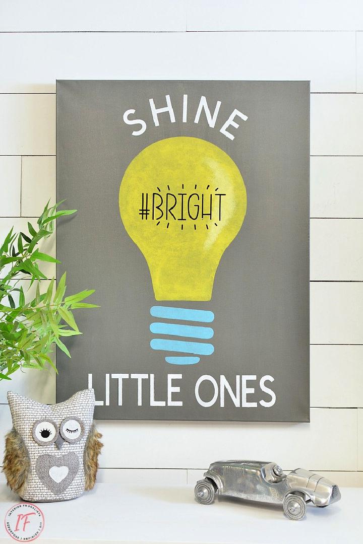 Kids Room Light Bulb Canvas Art
