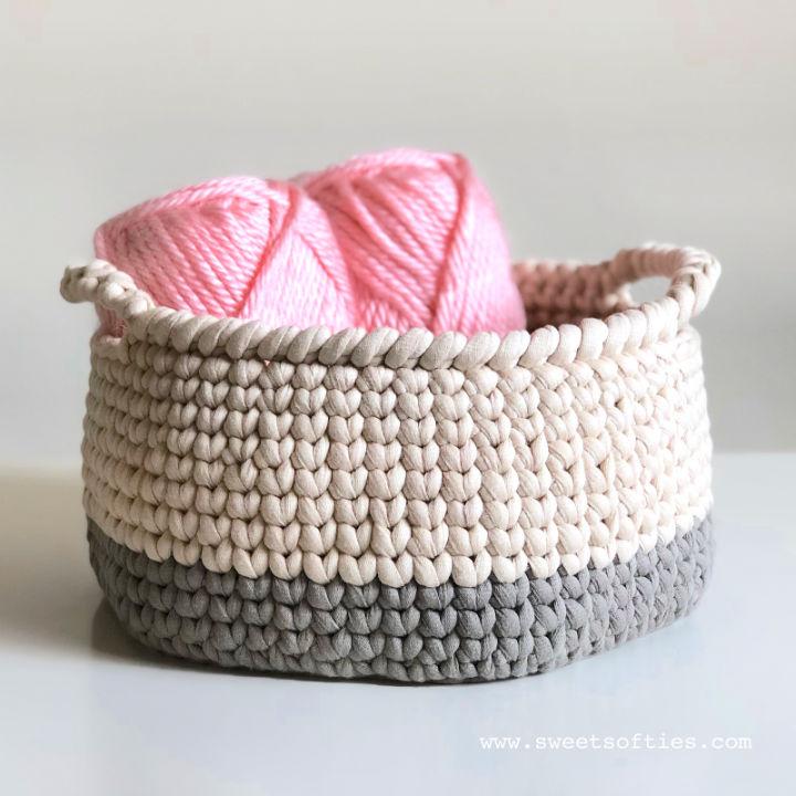 Knit Stitch Crochet Basket