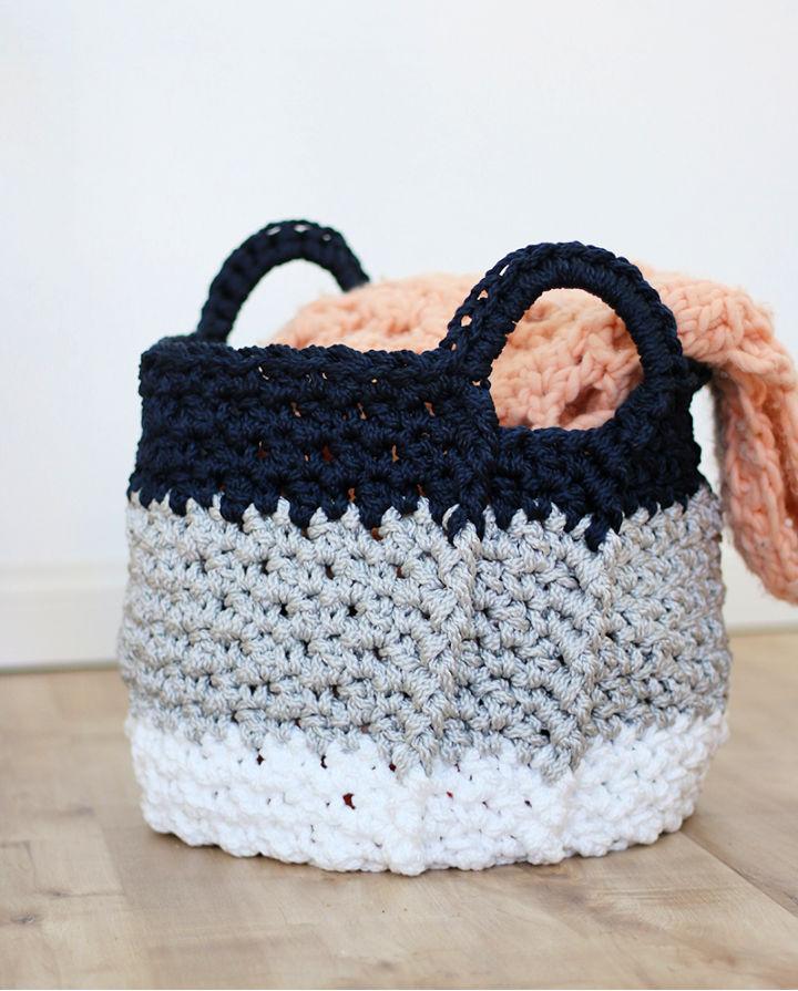 LargCrochet Basket with Handles