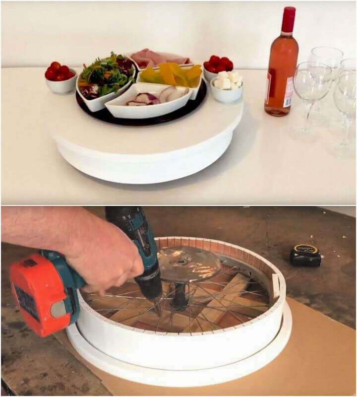 Lazy Susan Using a Bicycle Wheel
