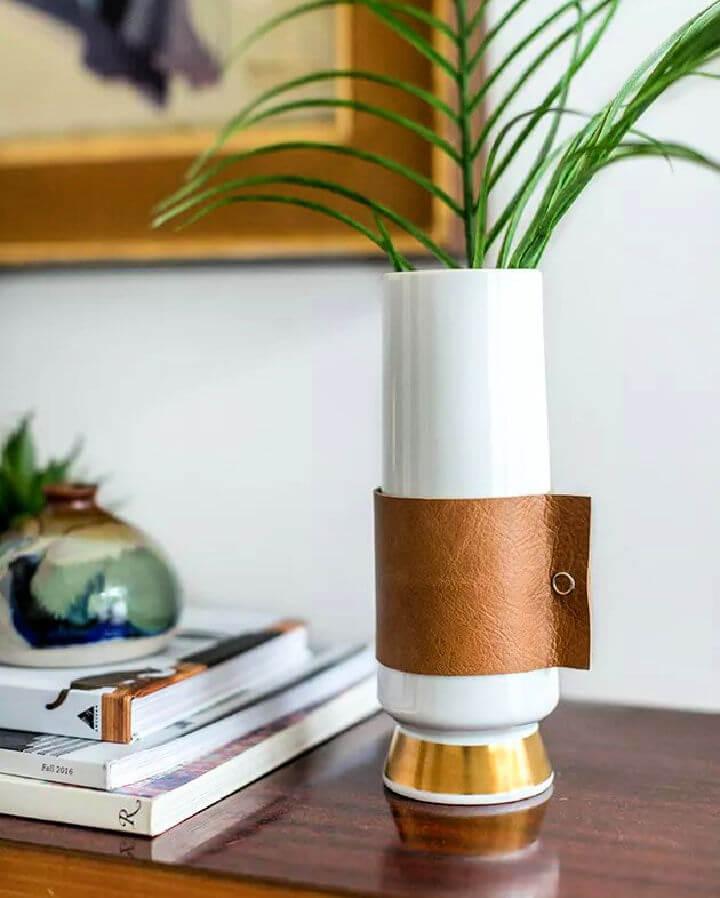 Leather Handled Vase