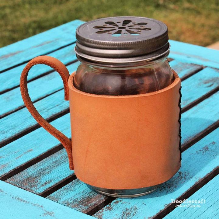 Leather Mason Jar Mug Coozie